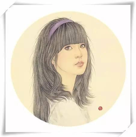 她的工笔画肖像作品-如如画事 中秋邀月图片