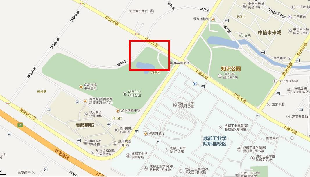 该地块位于中信未来城区域,而且毗邻郫县图书馆与成都工业学院,