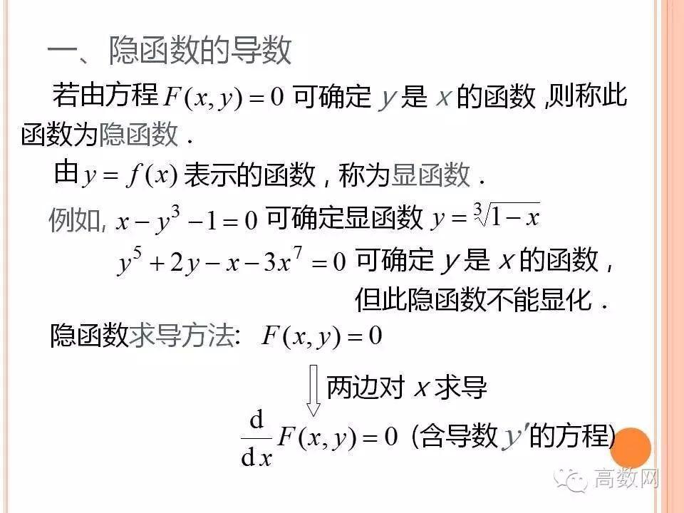 方程决定的函数的导数